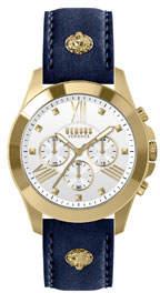 Versace Men's 44mm Chronograph Watch w/ Leather Strap, Steel Gold/Blue