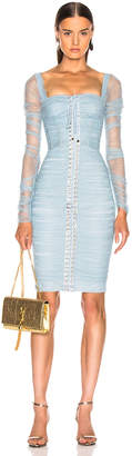 Dolce & Gabbana Ruched Long Sleeve Dress in Blue | FWRD