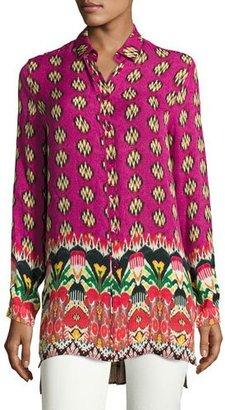 Etro Floral Self-Tie V-Neck Tunic, Fuchsia $820 thestylecure.com