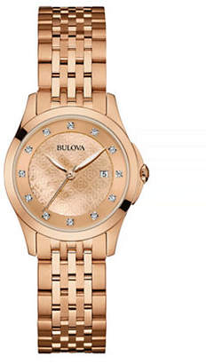 Bulova Diamond Rose-Goldtone Stainless Steel Watch