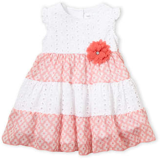 Little Angels (Infant Girls) Two-Piece Floral Eyelet Flutter Dress & Bloomers Set