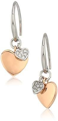 Fossil Women's Double Heart Two-Tone Steel Stud Earrings