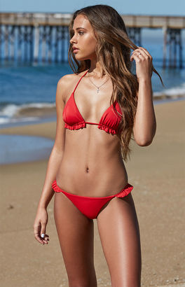 LA Hearts Ruffle Trim Triangle Bikini Top $29.95 thestylecure.com