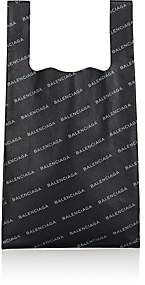 Balenciaga Men's Logo Small Leather Supermarket Tote Bag-Black