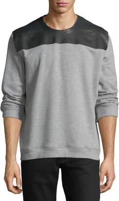 Valentino Leather-Shoulder Crewneck Sweatshirt