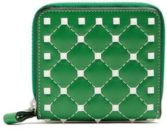 Valentino Rockstud Spike Zip Around Leather Wallet - Womens - Green White