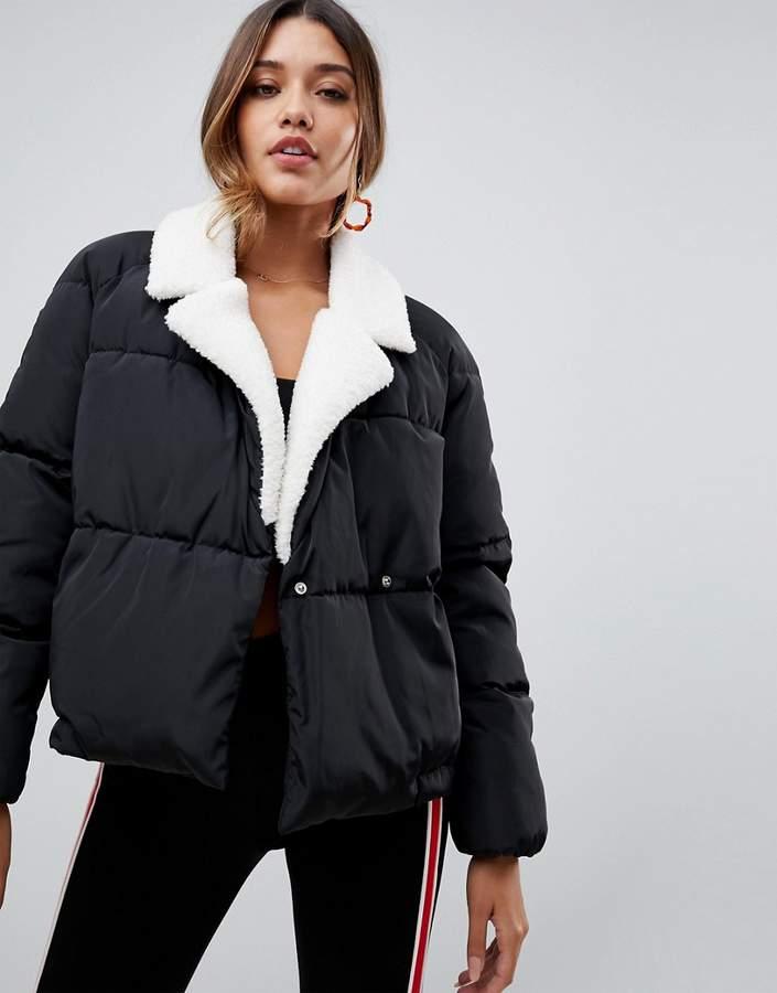 faux fur collar padded jacket in black