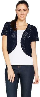 Susan Graver Hand Crochet Short Sleeve Shrug