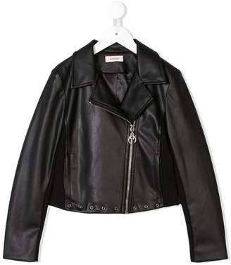 Pinko Kids eyelet faux leather jacket
