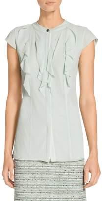 St. John Crinkle Silk Georgette Cap Sleeve Top