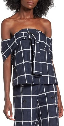 Women's J.o.a. Windowpane Off-The-Shoulder Top $70 thestylecure.com