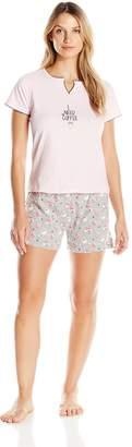 Rene Rofe Women's Short Sleeve V- Neck Pajama Set