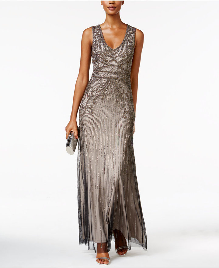 Adrianna PapellAdrianna Papell Beaded Shimmer Gown