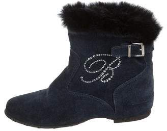 Miss Blumarine Girls' Suede Shearling Ankle Boots