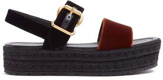 Prada Bi-colour double-strap velvet flatform sandals