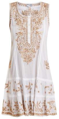 Juliet Dunn Floral Embroidered Cotton Mini Dress - Womens - White Multi