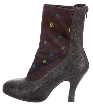 Dries Van Noten Floral-Accented Ankle Boots