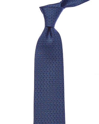 Salvatore Ferragamo Blue Gancini Silk Tie