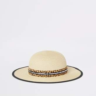 a5c8f469 River Island Mini girls Beige leopard trim straw hat