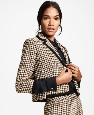 Brooks Brothers Petite Checked Tweed Cropped Jacket