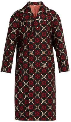 Gucci Gg Logo Jacquard Double Breasted Wool Coat - Mens - Multi