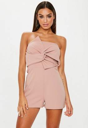 Missguided Blush Bandeau Bow Playsuit
