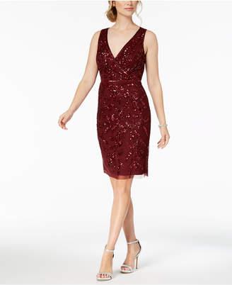 Adrianna Papell V-Neck Sequined Dress