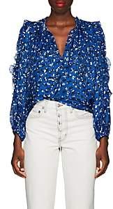 Ulla Johnson Women's Lilian Floral Striped Cotton-Silk Blouse-Blue