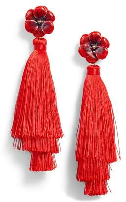 Halogen R Floral Tassel Drop Earrings