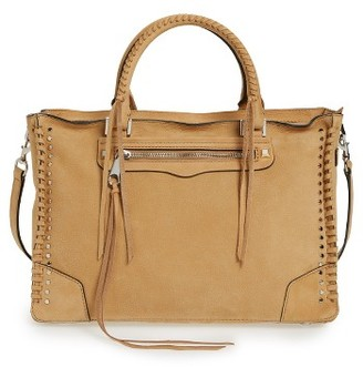 Rebecca Minkoff Regan Studded Leather Satchel - Brown $375 thestylecure.com