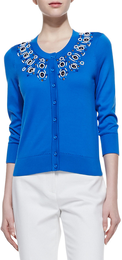 Kate Spade Arcadia Embellished Collar Cardigan, Azure Blue