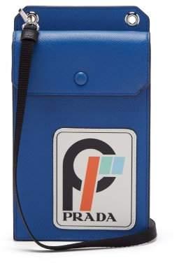 Prada Logo Patch Leather Cardholder - Mens - Blue White