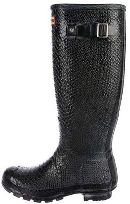 Hunter Embossed Rubber Knee-High Rain Boots