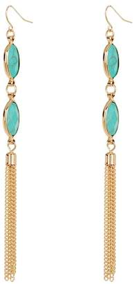 Natasha Accessories Bezel Set Stone Accent Tassel Earrings