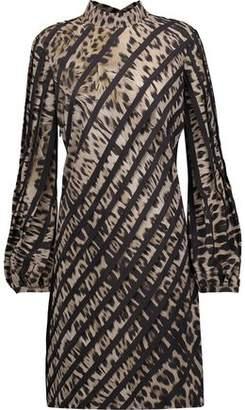Roberto Cavalli Paneled Printed Silk Mini Dress