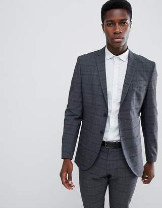 Selected Slim Fit Suit Jacket In Gray Check