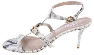 Donald J. Pliner & Lisa Signature Embossed T-Strap Sandals