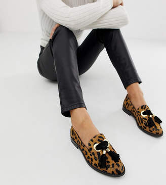 Asos Design DESIGN Mimic leather loafer flat shoes in leopard print