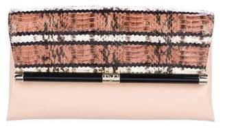 Diane von Furstenberg Embossed Leather Flap Clutch