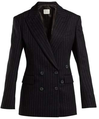 Hillier Bartley - Double Breasted Pinstripe Wool Blazer - Womens - Black White