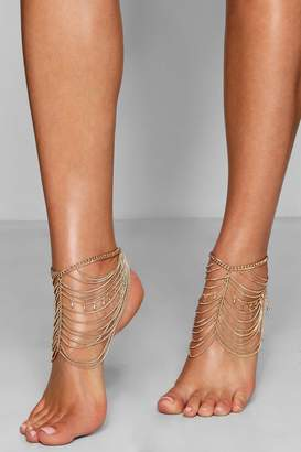 boohoo Statement Layered Chain Anklet Pair