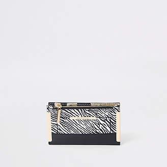 River Island White zebra print mini foldout purse