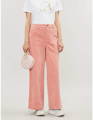 Ganni Ridgewood wide-leg high-rise corduroy trousers