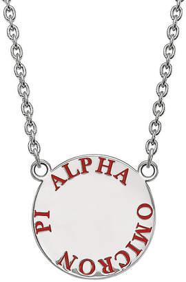 Pi FINE JEWELRY Alpha Omicron Enamel Sterling Silver Disc Pendant Necklace