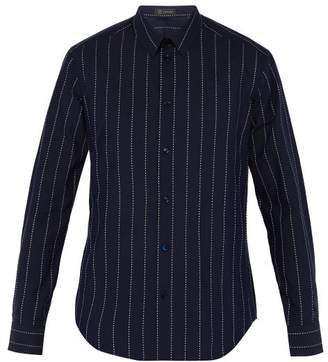 Versace Logo Striped Cotton Shirt - Mens - Blue White