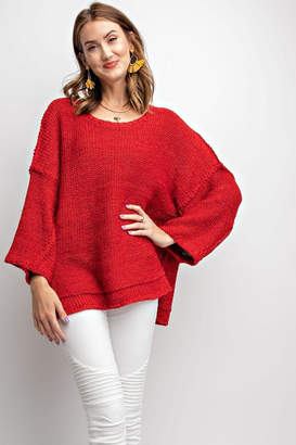 Factory Unknown Red Chunky Sweater