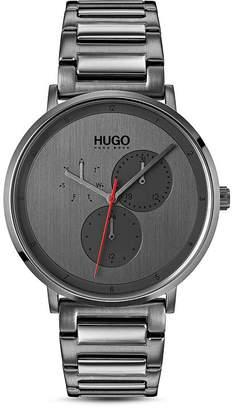 HUGO #GUIDE Gray Link Bracelet Watch, 40mm