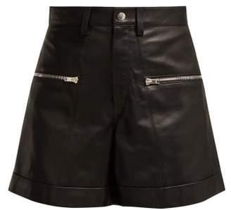 Isabel Marant Cedar Zip Leather Shorts - Womens - Black