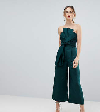 Asos Tall TALL Jumpsuit in Structured Fabric with Knot and Drape Detail