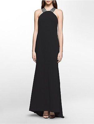 Calvin KleinCalvin Klein Womens Halter Neck Gown Dress